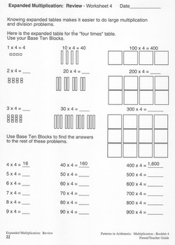 Multiplication:  Booklet 4 - Working with Large Numbers and Decimals Teacher