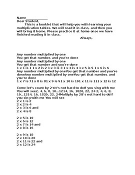 Multiplication Booklet and Songs to Help Students Remember The Tables