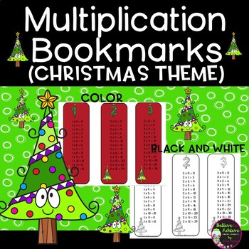 Multiplication Bookmarks 1's to 12's (Color and black and white )