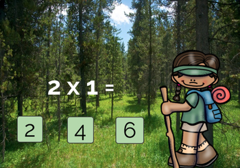Camping Theme Activities Boom Cards™ Multiplication Times 2 FREEBIE
