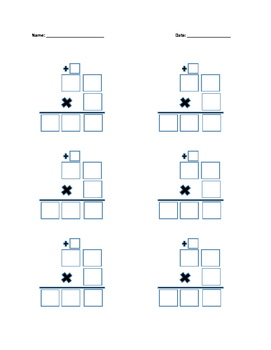 Multiplication Boxes with Regrouping 2x1