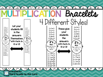 Multiplication Bracelets - Facts to 10 or 12