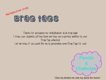 Multiplication Brag Tags award incentive