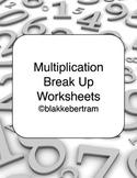Multiplication Break Up Strategy Worksheets