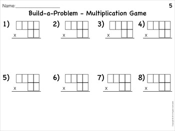 Multiplication Build-a-Problem Math Game