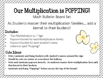 Multiplication Bulletin Board Set. Math Facts. Incentive Board. Popcorn