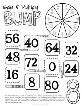Multiplication Bump Games - Back to School