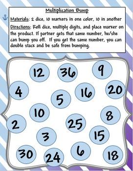 Bump Game - Multiplication - Easy Version