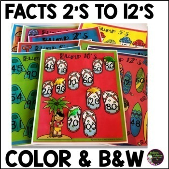 Multiplication Bump Games -2's to 12's (Summer themed)