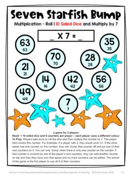 Multiplication Games 27 Multiplication Facts Bump Games Australian UK NZ Edition