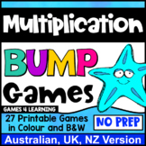 Multiplication Bump Games: 27 Multiplication Facts Bump Games [AU UK NZ Edition]