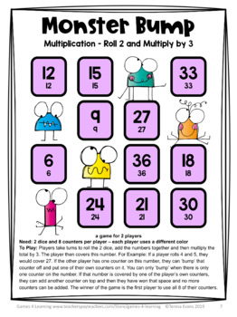 Multiplication Free: Multiplication Games, Multiplication Facts Bump Games
