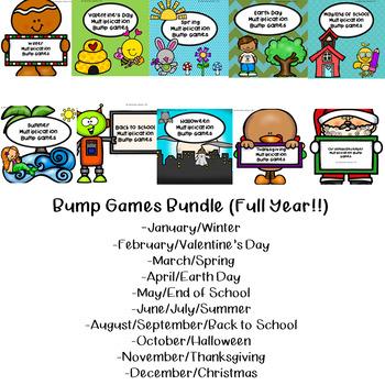 Multiplication Bump Games-Year Long GROWING BUNDLE!