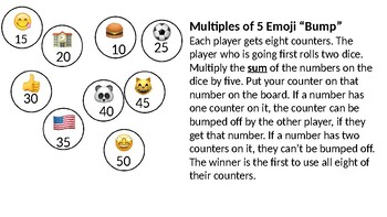 "Multiplication ""Bump"" Games with Football, Unicorn and Emoji Themes"