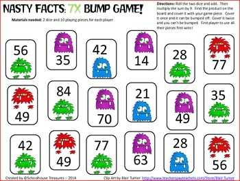Multiplication Bump Set: The Nasty Facts 6's, 7's, 8's, 9's