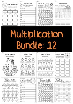 Multiplication Bundle: 12 Times Tables