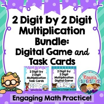 Multiplication Bundle: 2 Digit by 1 Digit ~ Task Cards and Digital Game
