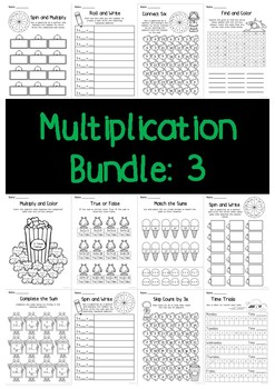 Multiplication Bundle: 3 Times Tables