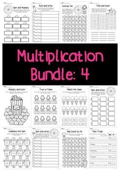 Multiplication Bundle: 4 Times Tables