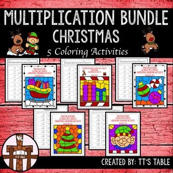 Multiplication Bundle Christmas Coloring Activities