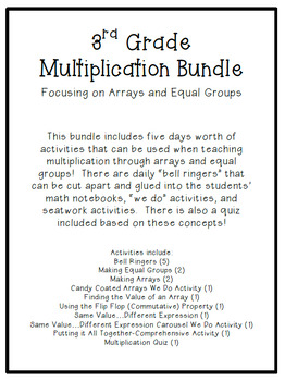 Multiplication Bundle:  Focusing on Equal Groups and Arrays