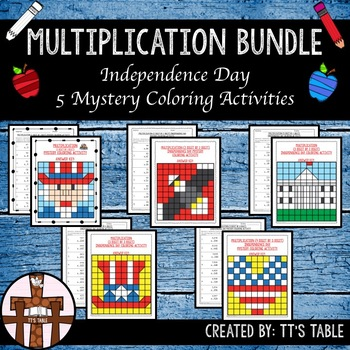 Multiplication Bundle Independence Day Mystery Coloring Activities