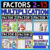 Multiplication Activities Bundle Factors 2 to 13