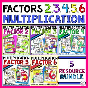 Multiplication Activities Bundle Factors 2 to 6