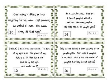 Multiplication 2 X 1, 3 X 1, and 4 X1 CGI Math Task Problems