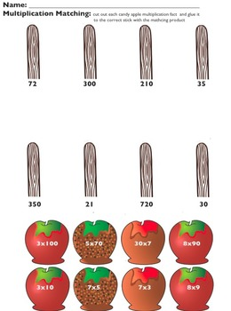 Multiplication Candy Apple Match