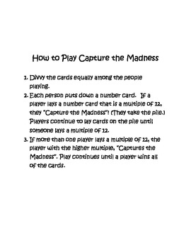 Multiplication: Capture the Madness 12's tables