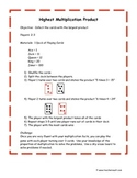 Multiplication Card Game - Math Centers