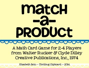 Multiplication Card Game: Match-A-Product