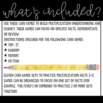 Multiplication Card Games