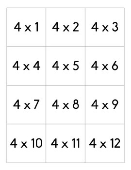 Multiplication Cards (1-12)