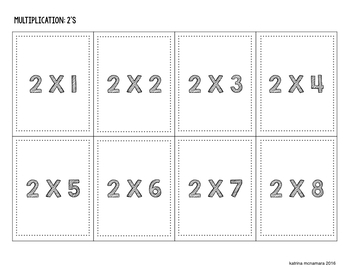 Multiplication Cards - 2's Fact Deck