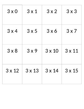 Multiplication Cards 3