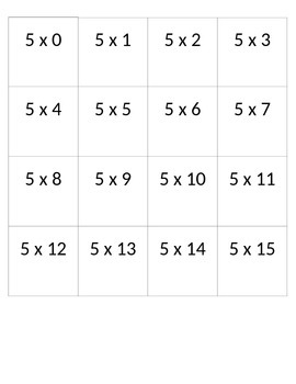 Multiplication Cards 5