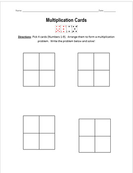Multiplication Cards Activity