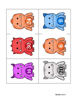Multiplication Cards - Monster Themed Print Out Cards