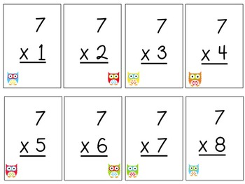 Multiplication Flash Cards - owls