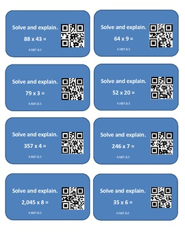 Multiplication Cards with QR Codes for Math Stations