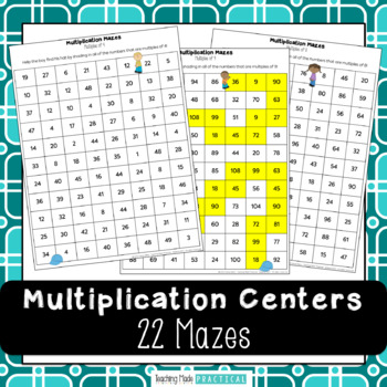 Multiplication Centers: 22 Mazes to Practice Multiples of 2 - 12