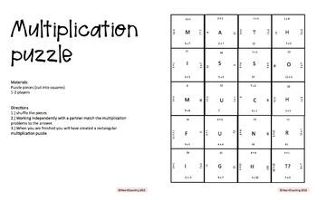 Multiplication Center Games