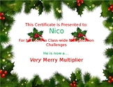 Multiplication Certificate for the holidays