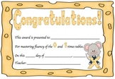 Multiplication Certificates (0-12 times tables) Mouse Theme