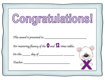 Multiplication Certificates (0-12 times tables) Polar Bear Theme