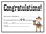 Multiplication Certificates Cowboy/Cowgirl Theme (0-12 times tables)