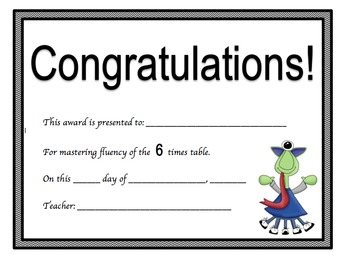 Multiplication Certificates Monster Theme (0-9 times tables)