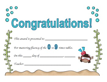 Multiplication Certificates Ocean Theme (0-12 times tables)